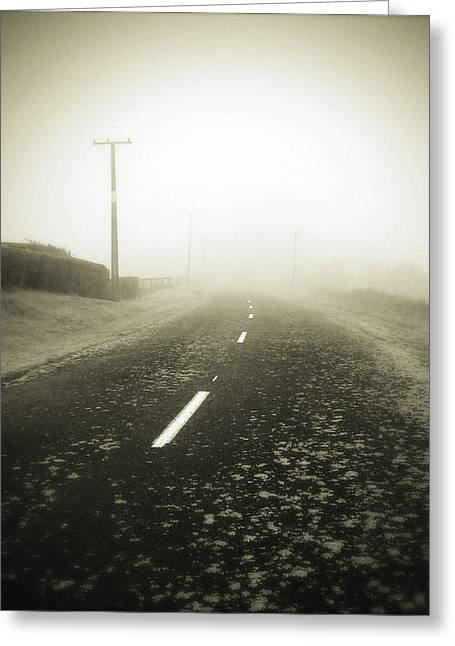 Winter Travel Greeting Cards - Foggy road  Greeting Card by Les Cunliffe