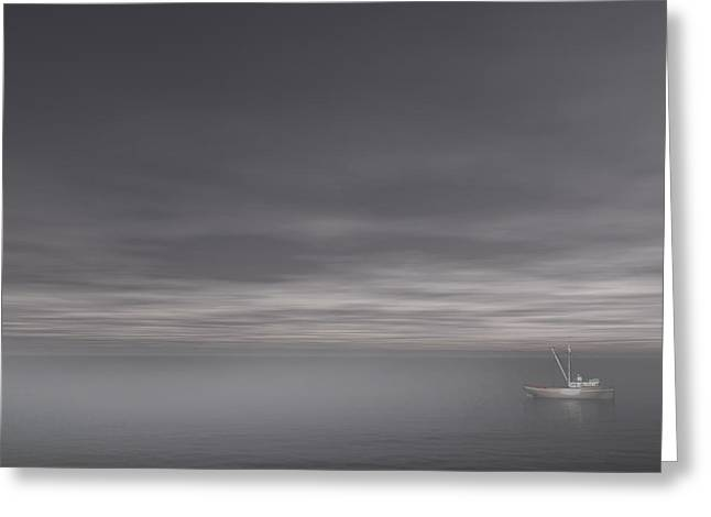 Sailboat Art Greeting Cards - Foggy Stillness Greeting Card by Lourry Legarde