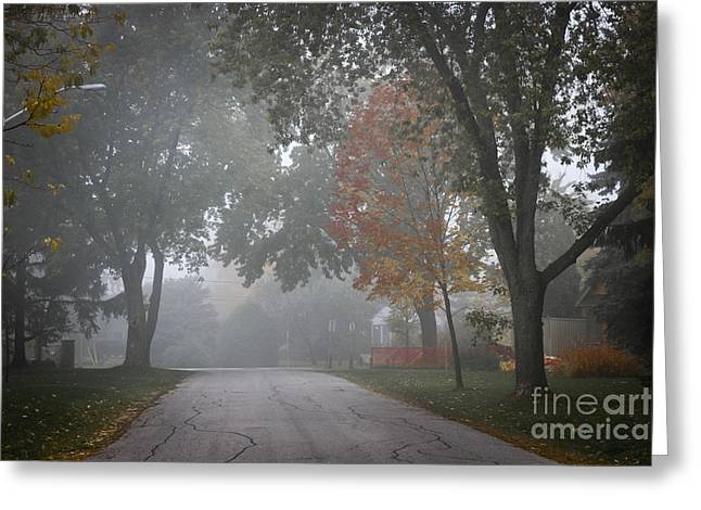 Suburb Greeting Cards - Foggy street Greeting Card by Elena Elisseeva