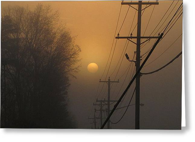 Greg Simmons Greeting Cards - Foggy Sunrise Greeting Card by Greg Simmons