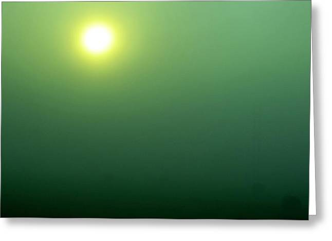 Green And Yellow Greeting Cards - Foggy Sunrise on Round Bales Greeting Card by Tony Grider