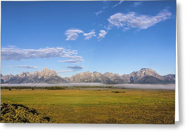Travel Photography Greeting Cards - Foggy Sunrise On The Tetons - Grand Teton National Park Wyoming Greeting Card by Brian Harig