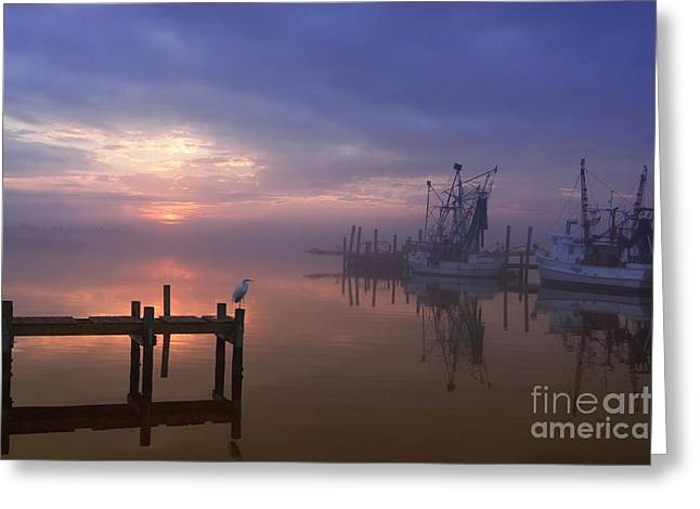 Docked Boats Greeting Cards - Foggy Sunset over Swansboro Greeting Card by Benanne Stiens