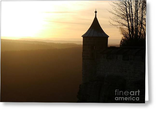 Koenigstein Greeting Cards - Foggy Sunset With Watch Tower Greeting Card by Christiane Schulze Art And Photography