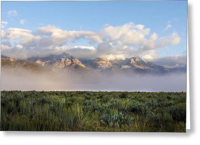 Foggy Teton Sunrise - Grand Tetons National Park Wyoming Greeting Card by Brian Harig