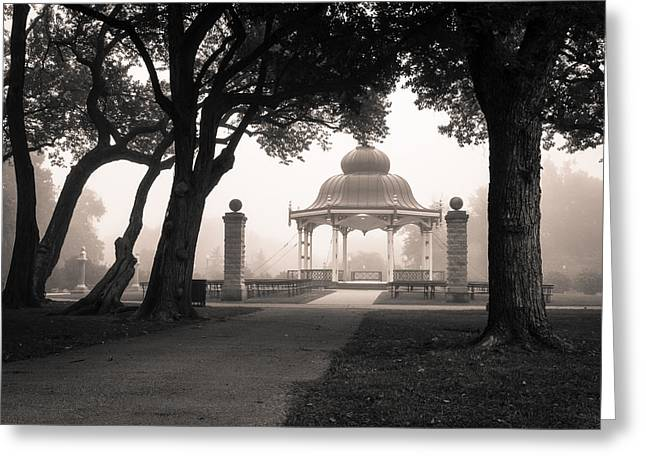 Bandstand Greeting Cards - Foggy Tower Grove Greeting Card by Scott Rackers