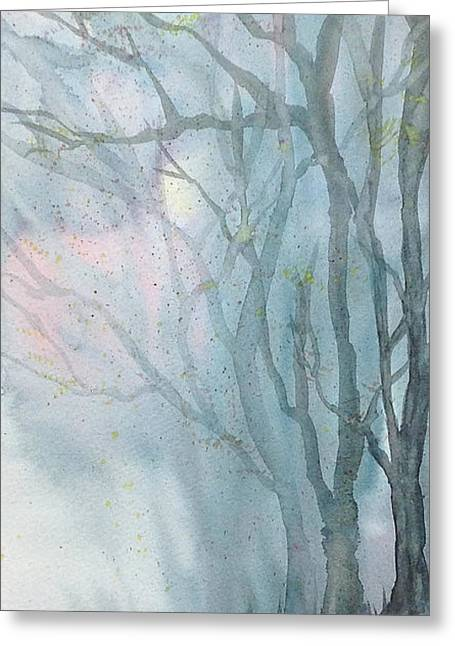 Fall Scenes Drawings Greeting Cards - Foggy Trees Greeting Card by Rebecca Davis