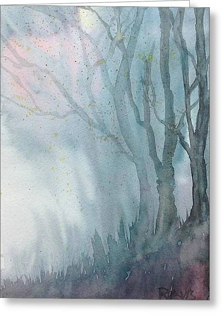 Fall Grass Drawings Greeting Cards - Foggy Trees Greeting Card by Rebecca Davis