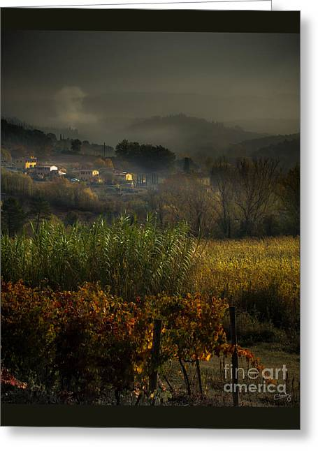 Tuscan Traditions Greeting Cards - Foggy Tuscan Valley  Greeting Card by Prints of Italy