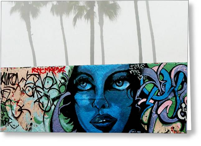 Venice Beach Palms Greeting Cards - Foggy Venice Beach Greeting Card by Art Block Collections