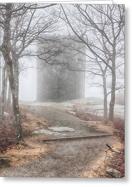 Folgers Greeting Cards - Foggy view of the summit of Mount Battie Greeting Card by Jeff Folger