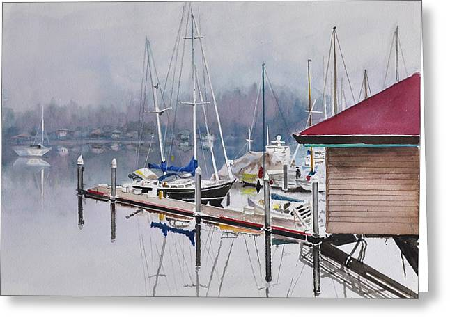 Sea Platform Paintings Greeting Cards - Foggy Dock Greeting Card by Gertrudes  Asplund