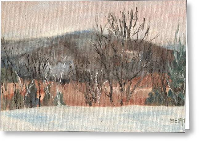 Moat Mountain Greeting Cards - Foggy Winter Morning in Intervale Greeting Card by Sharon E Allen