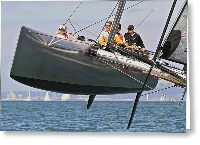 Catamaran Greeting Cards - Foiling on the Bay Greeting Card by Steven Lapkin