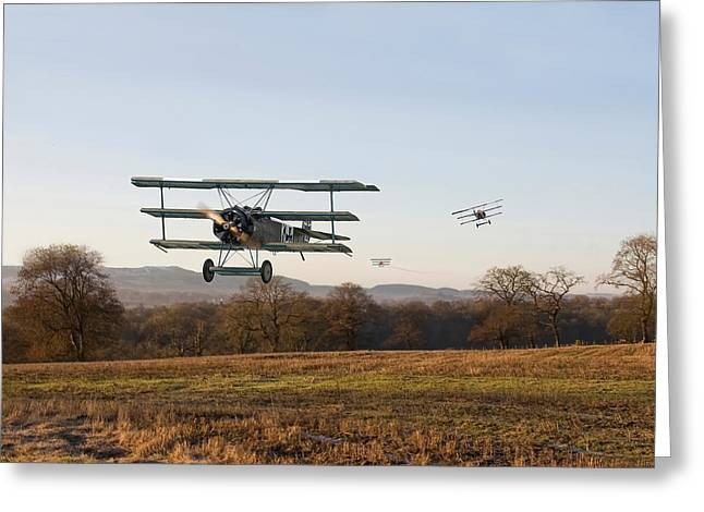 Triplane Greeting Cards - Fokker DR1 - Days End Greeting Card by Pat Speirs