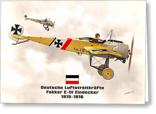1916 Digital Greeting Cards - Fokker Eindecker E3 WW1 Fighter Greeting Card by John Wills