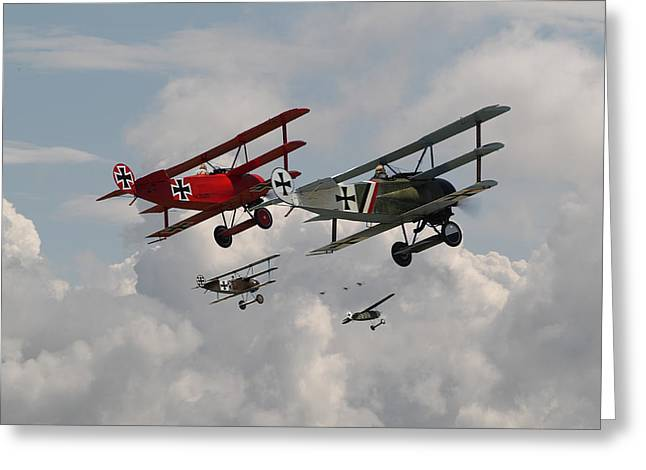 Biplane Greeting Cards - Fokker Squadron - Contact Greeting Card by Pat Speirs