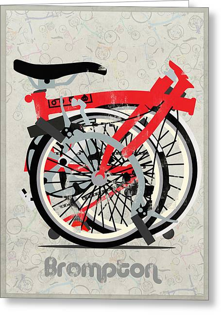 Tern Digital Art Greeting Cards - Folded Brompton Bike Greeting Card by Andy Scullion