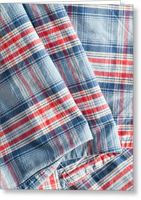 Plaid Shirt Greeting Cards - Folded fabric Greeting Card by Tom Gowanlock