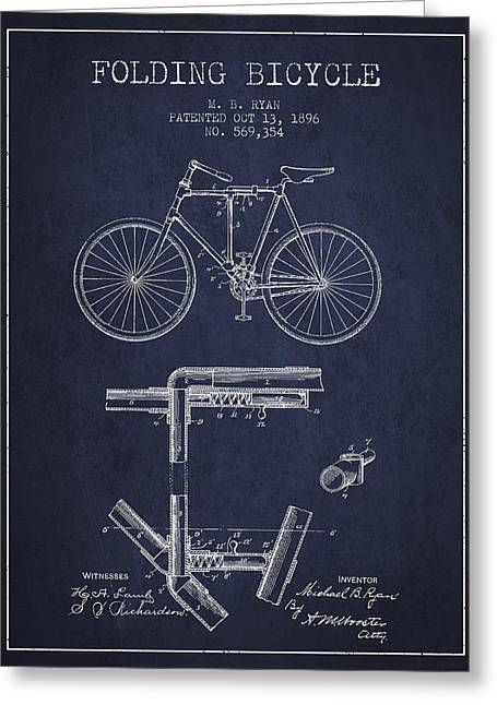 Vintage Bicycle Greeting Cards - Folding Bicycle Patent Drawing from 1896 - Navy Blue Greeting Card by Aged Pixel