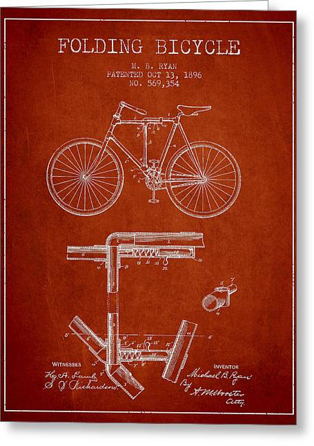 Folding Bicycle Patent Drawing From 1896 - Red Greeting Card by Aged Pixel