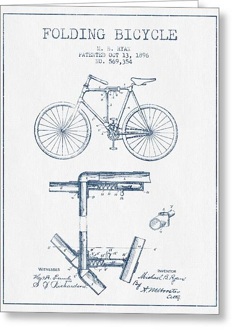 Pedals Greeting Cards - Folding Bicycle Patent Drawing from 1896 - Blue Ink Greeting Card by Aged Pixel