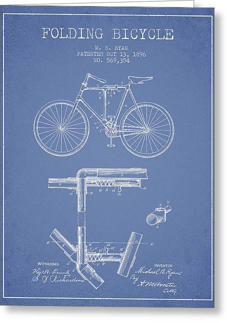 Folding Bicycle Patent Drawing From 1896 - Light Blue Greeting Card by Aged Pixel