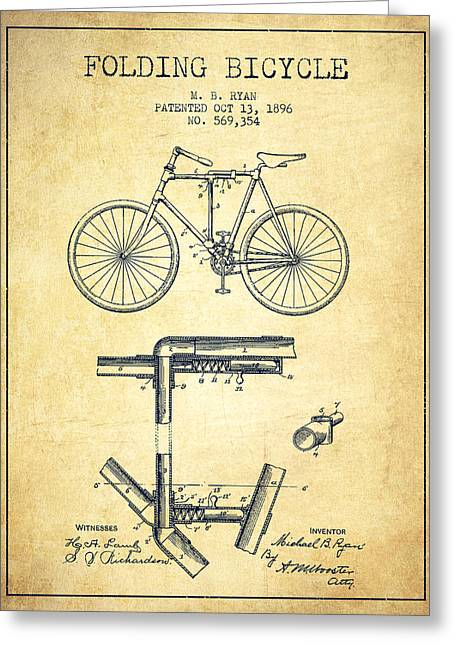 Vintage Bicycle Greeting Cards - Folding Bicycle Patent Drawing from 1896 - Vintage Greeting Card by Aged Pixel