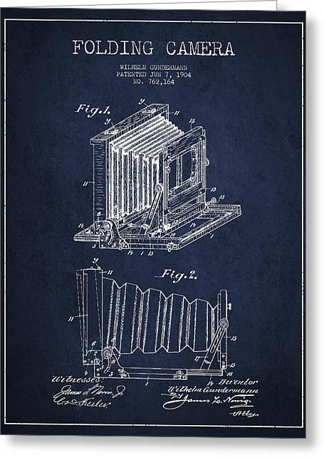 Famous Photographers Greeting Cards - Folding Camera Patent Drawing from 1904 Greeting Card by Aged Pixel