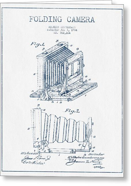 Famous Photographer Greeting Cards - Folding Camera Patent Drawing from 1904 - Blue Ink Greeting Card by Aged Pixel