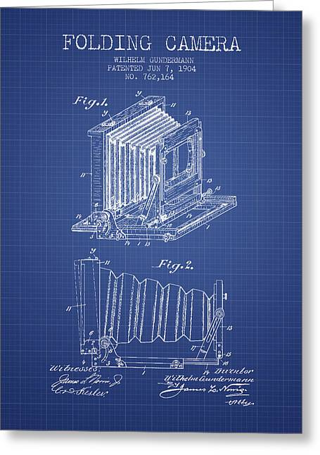 Famous Photographers Greeting Cards - Folding Camera Patent from 1904 - Blueprint Greeting Card by Aged Pixel