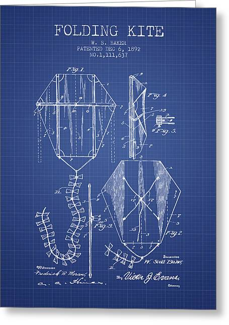 Folding Kite Patent From 1892- Blueprint Greeting Card by Aged Pixel