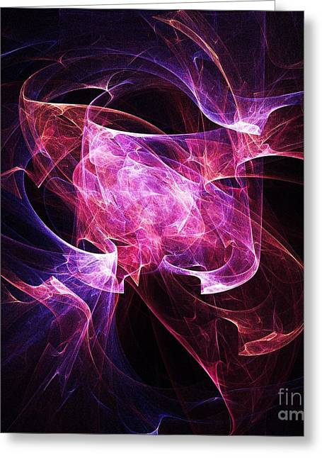 Abstract Digital Light Trails Greeting Cards - Folding Light Greeting Card by Elizabeth McTaggart