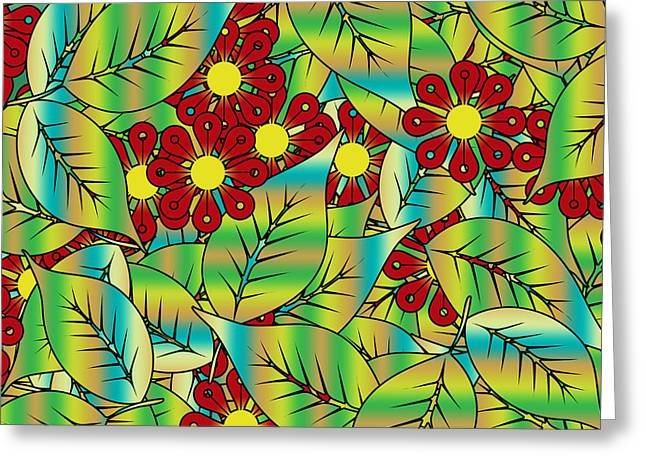 Forest Floor Digital Art Greeting Cards - Foliage and flowers Greeting Card by Gaspar Avila