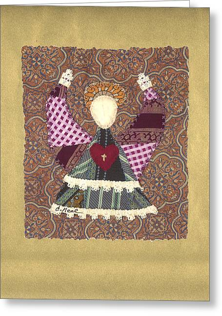 Spiritual Tapestries - Textiles Greeting Cards - Folk Angel Greeting Card by Carol Neal