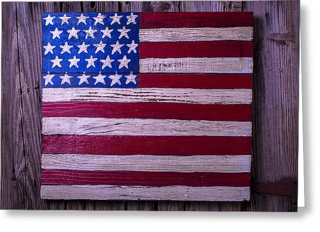 Ensign Greeting Cards - Folk Art American Flag Greeting Card by Garry Gay