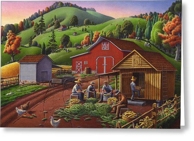 Pennsylvania Dutch Greeting Cards - Folk Art Americana - Farmers Shucking Harvesting Corn Farm Landscape - Autumn Rural Country Harvest  Greeting Card by Walt Curlee