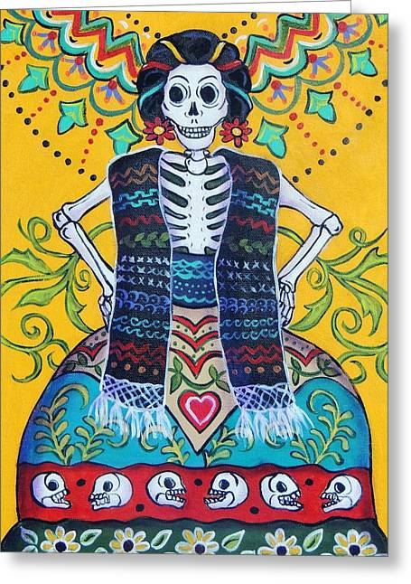 Folkloric Greeting Cards - Folk Art Calavera Greeting Card by Candy Mayer