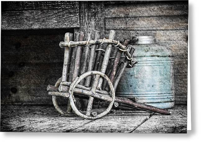 Wagon Wheels Photographs Greeting Cards - Folk Art Cart Still Life Greeting Card by Tom Mc Nemar