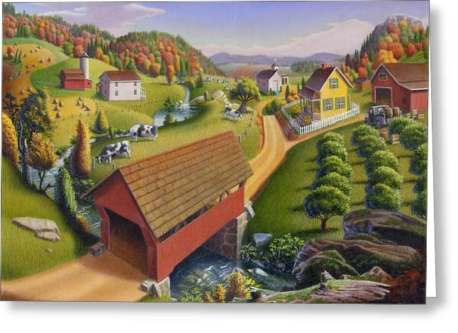 Amish Scenes Greeting Cards - Folk Art Covered Bridge Appalachian Country Farm Summer Landscape - Appalachia - Rural Americana Greeting Card by Walt Curlee