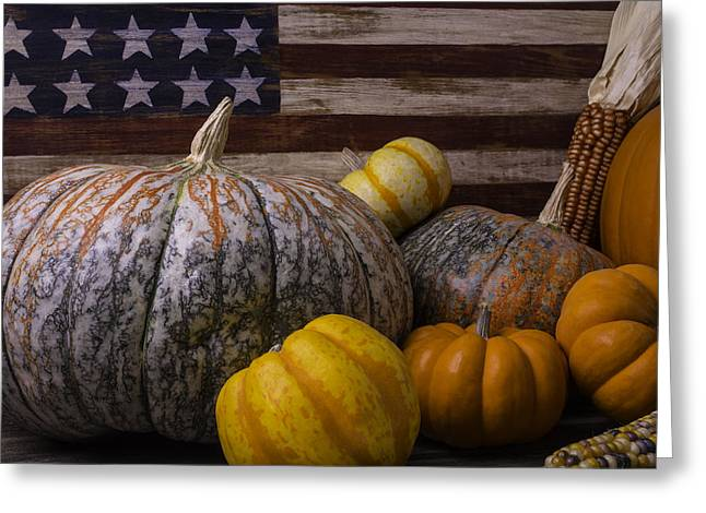 Gourds Greeting Cards - Folk Art Flag And Pumpkins Greeting Card by Garry Gay