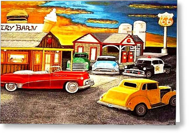 Game Greeting Cards - Roadside Rt 66 original for sale Greeting Card by Larry Lamb