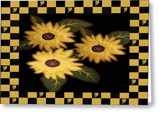 Sunflower Greeting Cards - Folk Art Sunflowers Greeting Card by Patricia Urato