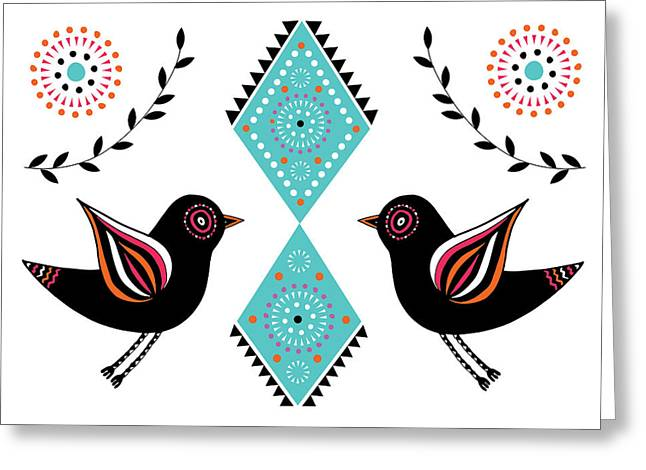 Geometric Animal Greeting Cards - Folk Bird Greeting Card by Susan Claire