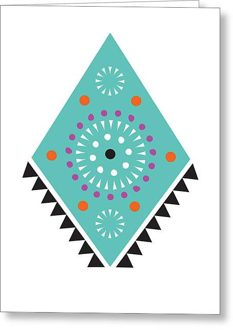 Geometric Art Greeting Cards - Folk FOr Thought Greeting Card by Susan Claire