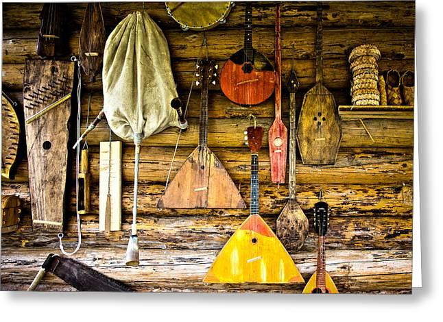 Log Cabin Interiors Greeting Cards - Folk musical instruments Greeting Card by Alexander Senin