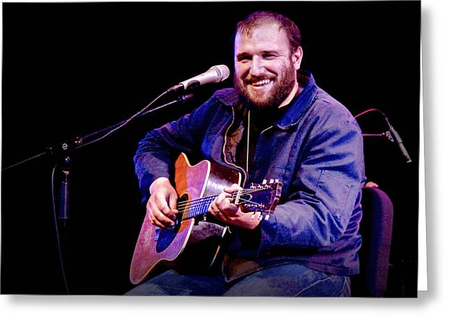 Contemporary American Folk Art Greeting Cards - Folk Musician David Bazan in Concert Greeting Card by Randall Nyhof