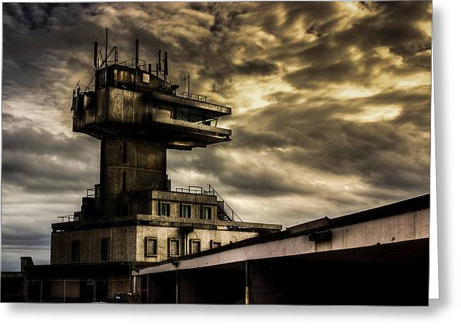 Fishing Port Greeting Cards - Folkestone harbour Control Greeting Card by Ian Hufton