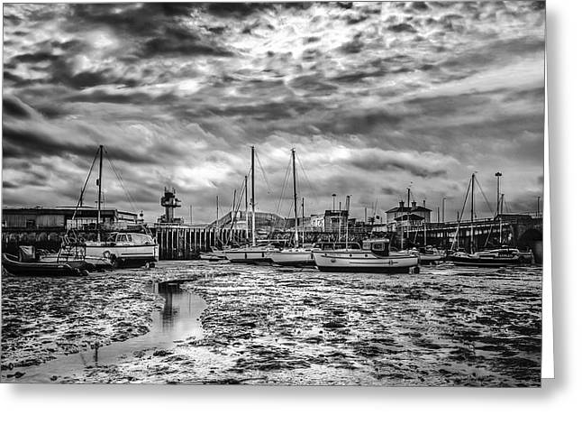Fishing Port Greeting Cards - Folkestone harbour mono Greeting Card by Ian Hufton
