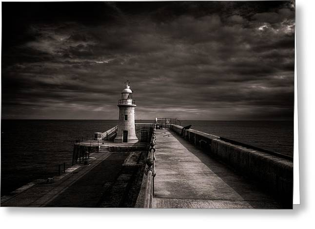 Folkestone Lighthouse Greeting Card by Ian Hufton